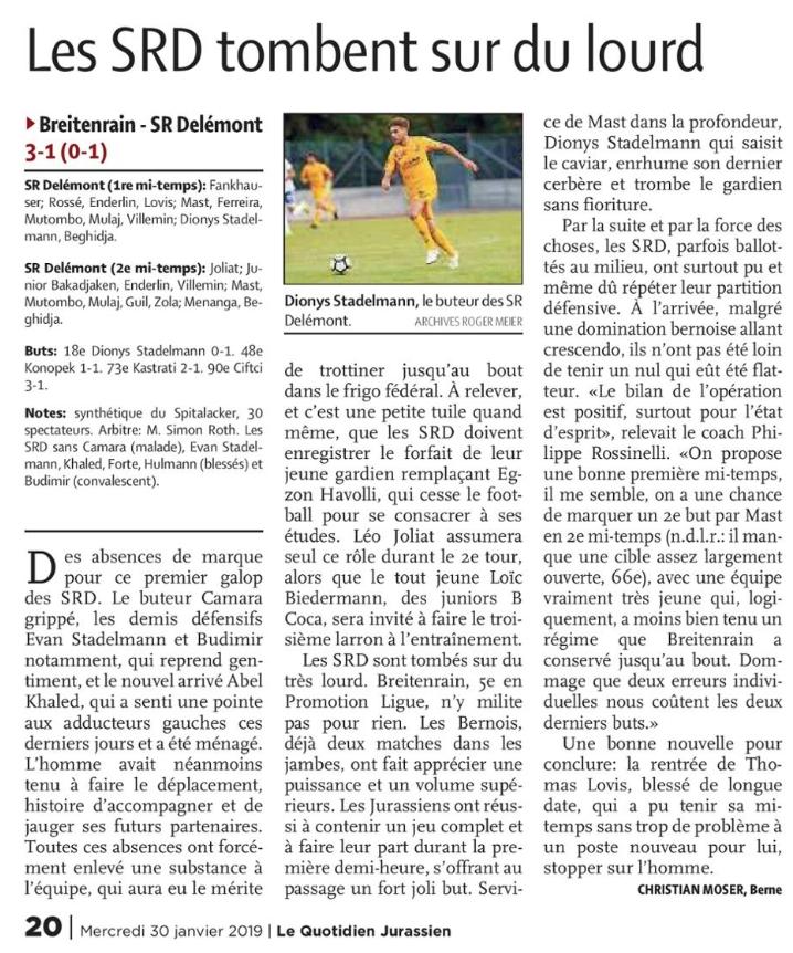 Compte rendu du match amical  |   FC Breitenrain – SRD