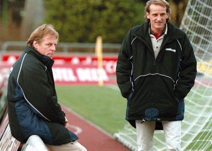 Football LNB, SR DelÈmont: l'entraÓneur Hermann et l'entraÓneur-assistant Fleury.